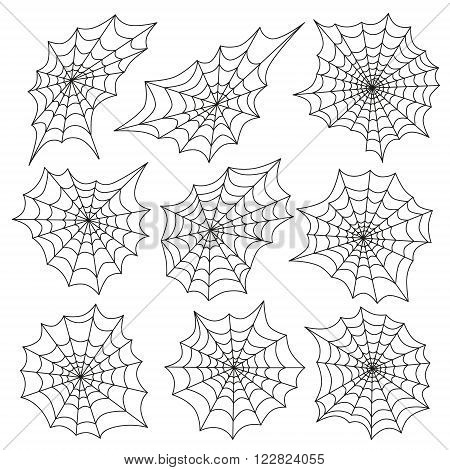 Spider's web icon set. Halloween vector set