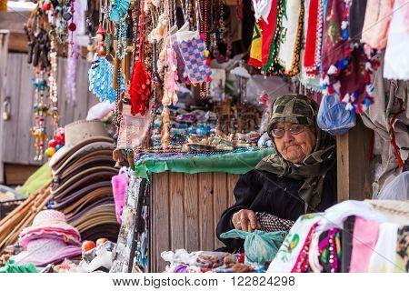 Woman Selling Trinkets In Assos Turkey