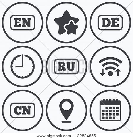 Clock, wifi and stars icons. Language icons. EN, DE, RU and CN translation symbols. English, German, Russian and Chinese languages. Calendar symbol.