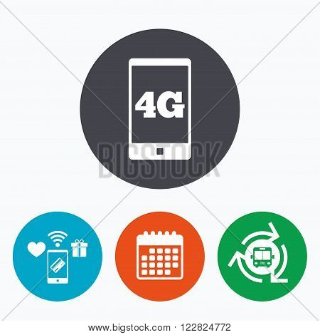 4G sign icon. Mobile telecommunications technology symbol. Mobile payments, calendar and wifi icons. Bus shuttle.