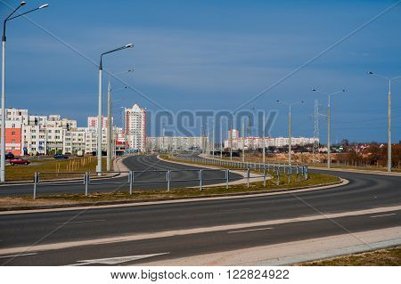 New road. Coloful panel houses in Gomel city Belarus.