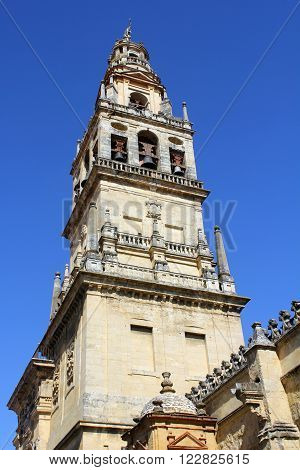 Current christian bell and former arab minaret of the mosque in Córdoba (Spain)..