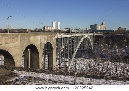 Border bridge on Niagara Falls on the border Ontario river between the USA and Canada Ontario in winter time