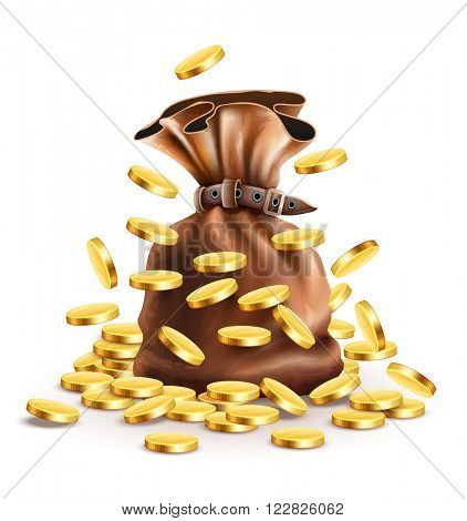 Full sack with money and falling gold coins vector illustration. Isolated white background gradient mesh used. Transparent objects used for lights shadows drawing