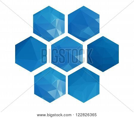 Polygonal textured hexagons set on white background