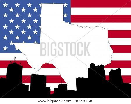 map of Texas on American flag with Dallas skyline