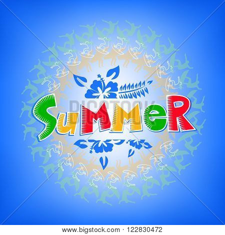 Summer Get Away Colorful Title with Flowers in Gradient Blue Background including Surfers around text design. Vector Illustration