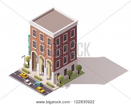 Isometric icon representing small hostel building