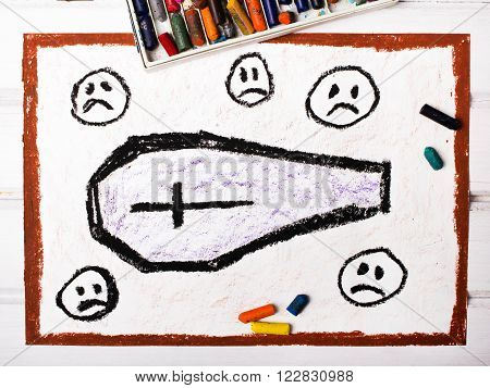 drawing - coffin surrounded by sad faces