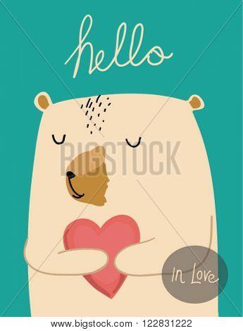 cutie bear with heart in love