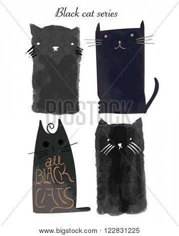 black watercolor ink cat collection