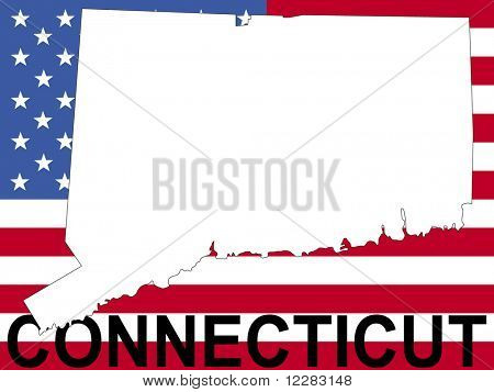 mapa de Connecticut en la ilustración de la bandera americana