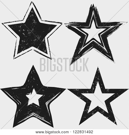 Grunge stars black and white collection. vector