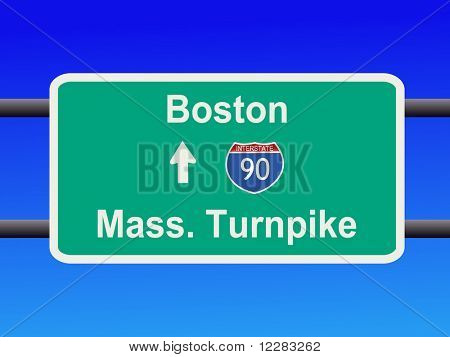 Massachusetts Turnpike Interstate 90 sign illustration