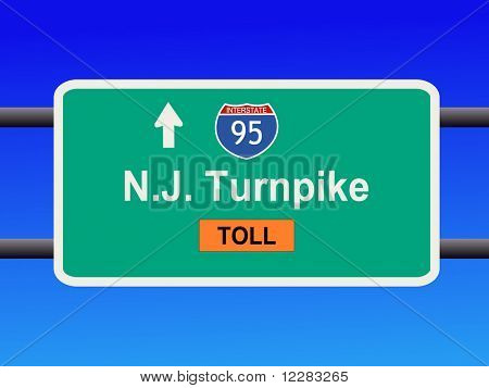 New Jersey Turnpike Interstate 95 sign illustration