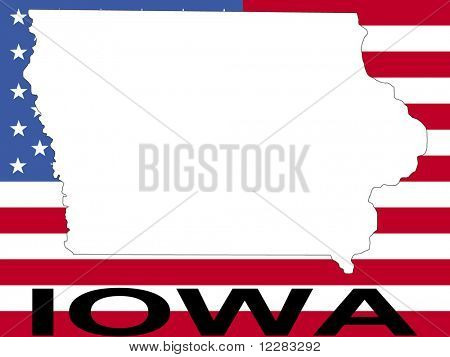 map of Iowa on American flag illustration