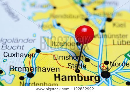 Photo of pinned Stade a map of Germany. May be used as illustration for traveling theme.