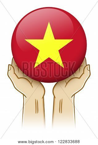 Pair of hand holding and lifting an orb with Vietnam insignia