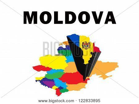 Outline map of Eastern Europe with Moldova raised and highlighted with the national flag