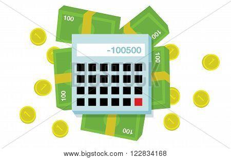 Flat money and calculator illustration on white