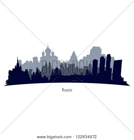 Russia cities black and grey silhouette. Vector  illustration