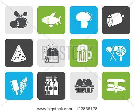 Flat food, drink and shop icons - vector icon set
