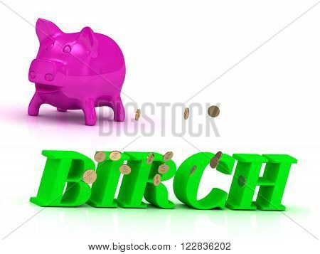 3D illustration BIRCH bright of green letters and rose Piggy on white background