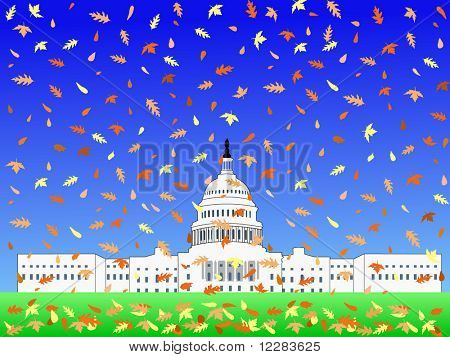 US Capitol building in Autumn with falling leaves