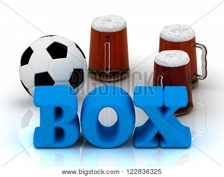 3D illustration BOX blue bright word football 3 cup beer on white background