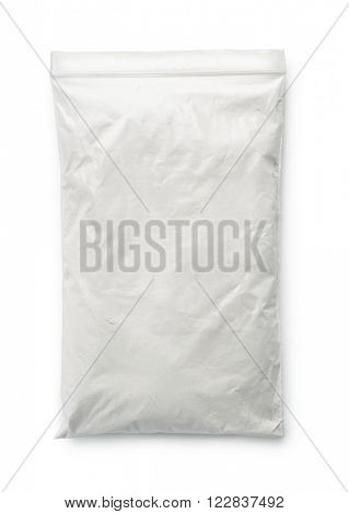 Talc powder bag isolated on white