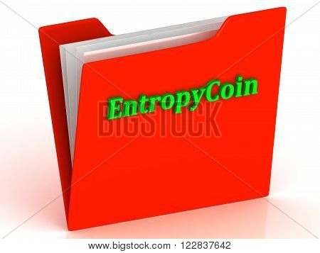 EntropyCoin- bright green letters on red paperwork folder witch paper list on a white background