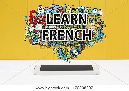 Learn French Concept With Smartphone