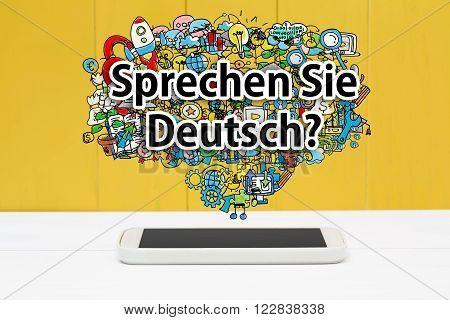 Sprechen Sie Deutsch Concept With Smartphone