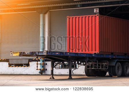 container on the truck in cargo, Transportation and shipping background.