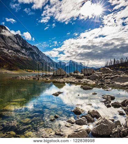 The shoaled Medicine Lake. Jasper national park, Canada