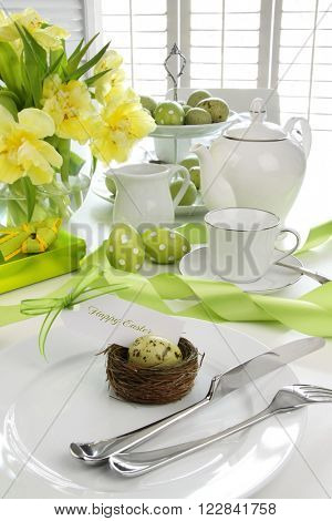 Gift card with egg on plate for easter