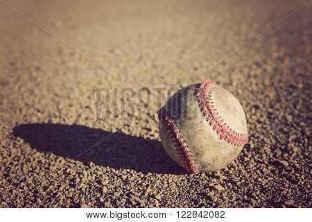 Baseball on the infield dirt