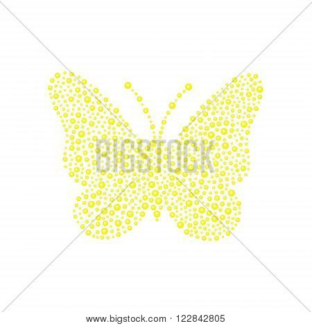 Butterfly in yellow design on white background