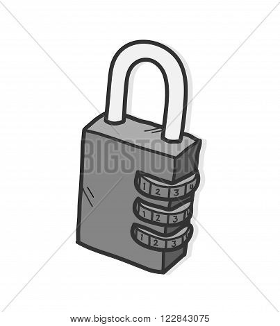 Padlock, a hand drawn vector illustration of a padlock with numerical lock system with shadow backdrop (editable).
