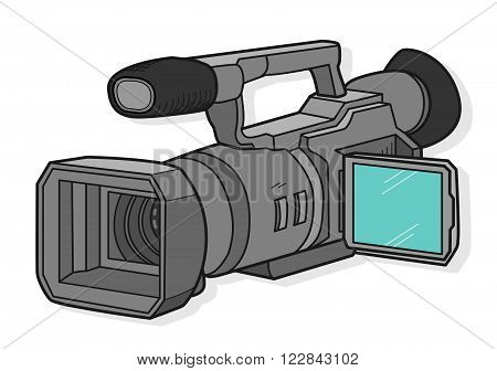 TV Camera, a hand drawn vector illustration of a TV camera for professional broadcast use, with shadow backdrop (editable).