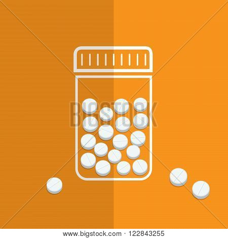 Symbol of bottle with pills. Flat design, vector illustration.