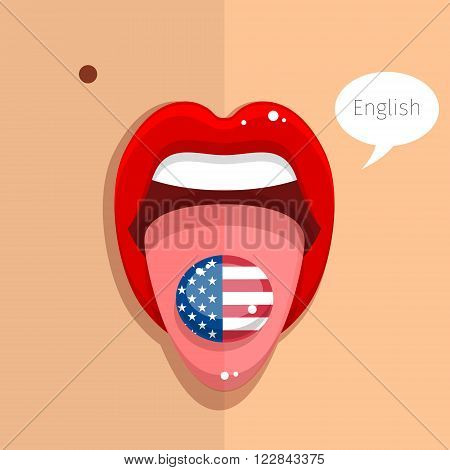 English language concept. English language tongue open mouth with flag of USA, woman face. Flat design, vector illustration.