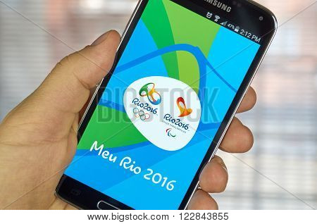 MONTREAL CANADA - MARCH 20 2016 - Rio 2016 mobile application on Samsung S5's screen. The city of Rio de Janeiro has been elected host city of the Games of the XXXI Olympiad in 2016.