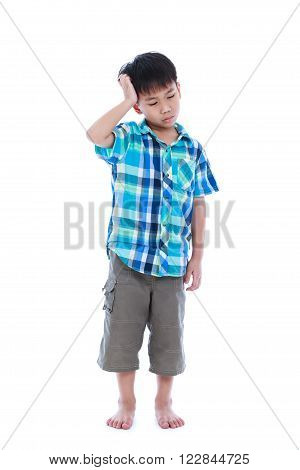 Full body. Attractive of asian boy making thinking expression his hand on head emotion feeling sign. Isolated on white background. Studio shot. Concept for confusion inspiration and solution