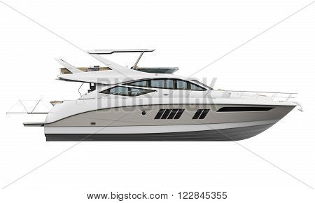 White Pleasure Yacht isolated on white background. 3D render