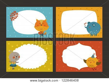 Set of cartoon animal borders, zoo frame with fox, elephant, rabbit and bird. Cute baby animals in love, kids frame, template for baby photo