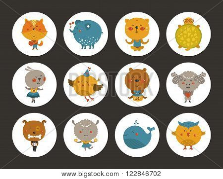 Set of animal avatars, cute baby animal stickers. Vector fox, turtle, owl and sheep