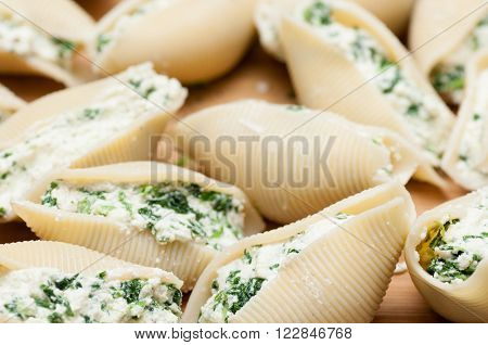 uncooked hand stuffed conchiglie pasta with goat cheese and spinach and a marina sauce