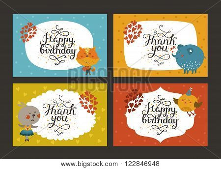 Set of Cute animal cards with lettering and baby animals in love. Fox, elephant, rabbit, bird. Vector greeting animal card, Thank you, Happy birthday