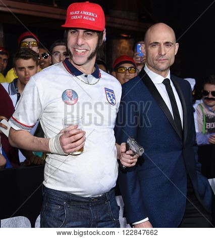 LOS ANGELES - MAR 03:  Sacha Baron Cohen & Mark Strong arrives to the